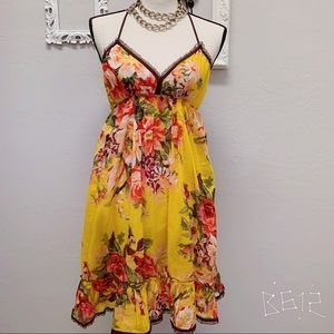 Flower printed beach dress